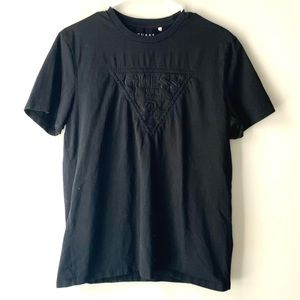 Guess Men's Black Embroidered Logo T Shirt